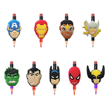 9pcs/set Avengers Super Heroes Cartoon PVC Pencil Toppers/Caps Pen's Accessories Children's Crafts Kid Gift Party Favors(China)
