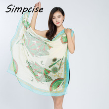 [Simpcise] Fashion New design National style Fan Printing polyester Square scarf For Woman Spring Summer Autumn P9A99030(China)