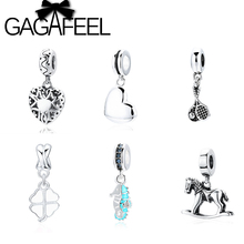 GAGAFEEL Cute Heart Shape Beads Fit Pandora Charm Bracelets Big Hole DIY Lucky Clover Charm Bead For Jewelry Making