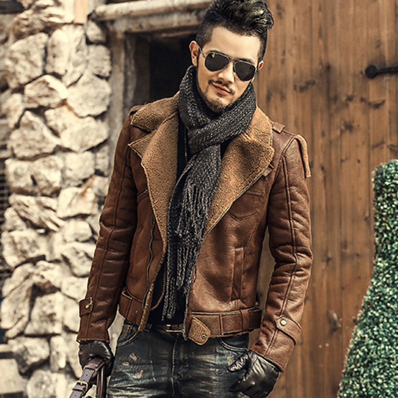 Faux leather jackets men fur coats thick warm motorcycle biker jacket metrosexual men slim cotton winter brand woolen jacket new
