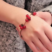 SL030 Hot New Fashion Vintage Sweet Cute Coin Red Cherry Charm Chain Bracelet & Bangle for Women Jewelry Gift mujer pulseras