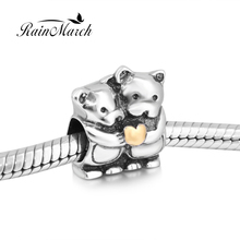 Original 925 sterling silver Double teddy bear charm beads with gold heart Fits for Pandora Bracelets free shipping