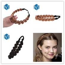 M MISM 1 piece 3cm Width Synthetic Wig Twist Hair Bands Fashion Women Hair Accessories with different colors Elastic Headbands