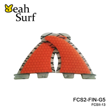 FCSII G5 M Size Surf Fins Surfboard Orange Honeycomb Fins FCS 2 Carbon Firbe Fin New Design FCS II Quilhas(China)