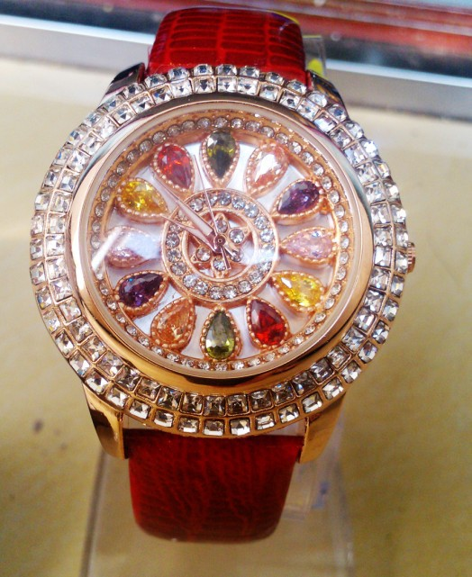 New Arrival Famous Brand Full Crystal Watch Women Luxury Colorful Zircon Rhinestone Watch Bangle Bracelet<br>