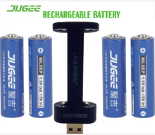 1.5 v 14500 lifepo4 Li-ion Toys batteries 3000mWh 4pcs JUGEE AA Li-polymer lithium battery rechargeable batterie+2 SLOTS charger(China)