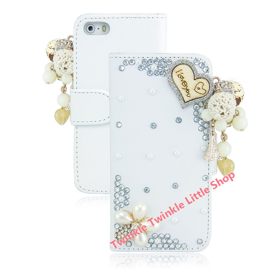Handmade Fashionable Diamond Case Cover For iPhone5 5S Crystal Wallet Flip Leather Phone Case(China)