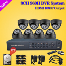 700TVL Home 8CH CCTV DVR Day Night Weatherproof Security Camera Surveillance Video System 8ch Kit with 960H D1 recording