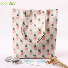 Naivety 2016 New Canvas Women Pineapple Pattern Tote Printing Shoulder Shopping Bag Bolso De Compras 11S61006 drop shipping