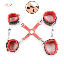 Buy Padded PU Leather Hog Cross Tie Hand Cuffs Ankle Cuffs Role Play Accessory ,Hogtie Bondage Restraints,Adult BDSM Cosplay