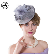 FS 2017 Vintage Ladies Feather Fascinator Wedding Hat For Women Sliver Linen Fedora Kentucky Derby Church Hats(China)