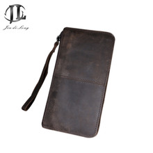 Hand Bag Men Wallets Coin Zipper Pocket Fashion Long Design Men's Bags Of Genuine Leather Small  Wallet Clutch Bag Purse Wallet