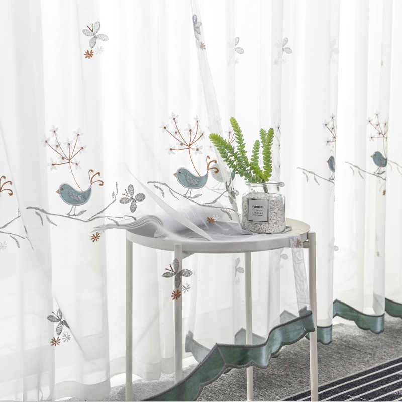 European Style Blue Bird Embroidered Curtain Window Screen For Living Room Customize Finished Products Pink Tulle Curtain M064#4