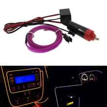 3M EL Wire 6mm Sewing Edge Car Decor Lighting Flexible Rope Tube Car light With Car Cigarette Driver Atmosphere light