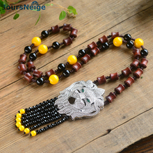 Fine Blood Sandalwood Necklace 925 Silver Lion Head Pendant Lucky for Men Women Hand Made Beads Sweater Chain Necklace Jewelry(China)