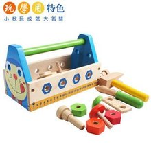 Candice guo! New arrival educational wooden toy my magic tool box Doraemon Robot disassembly screw nut tool toy kids gift 1set(China)