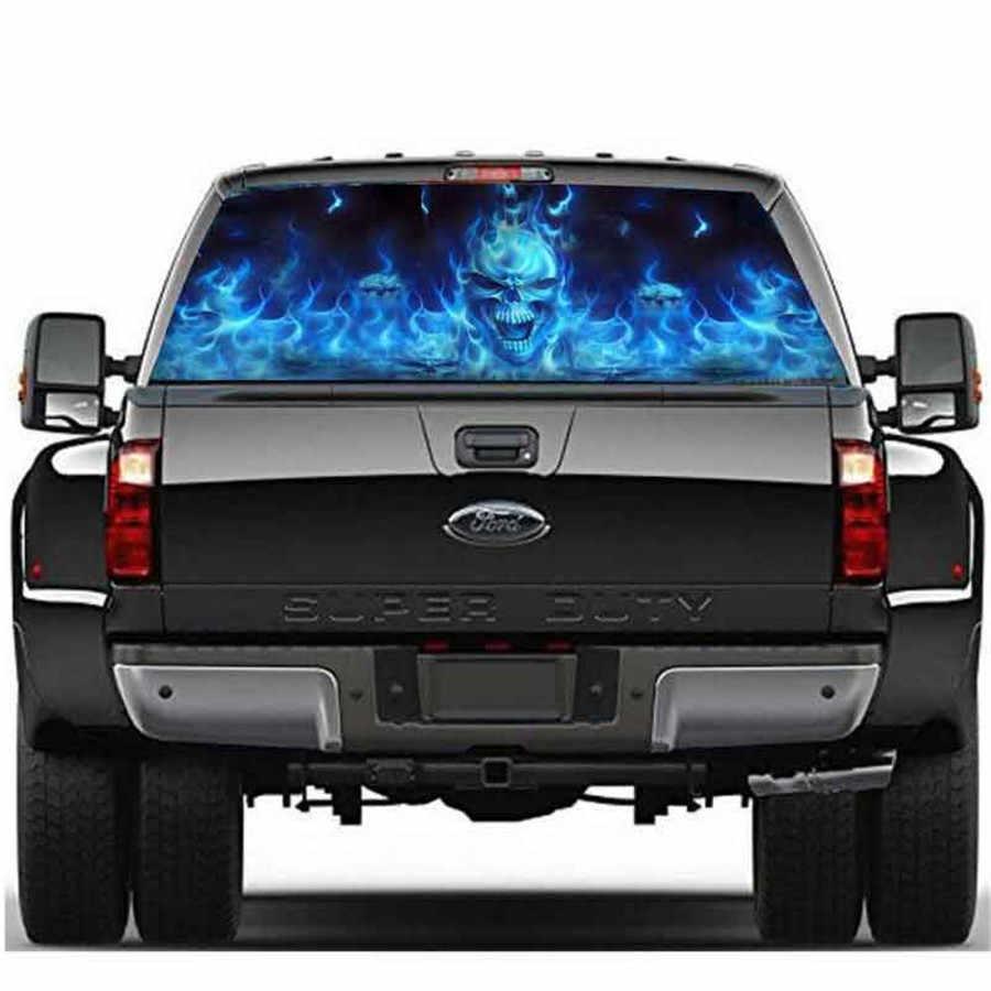 Rear window car sticker blue flaming skull for truck suv jeep surface of window 147x46cm