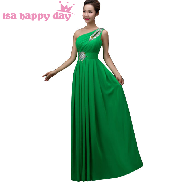 beautiful plus size green chiffon one shoulder prom dresses long de festa 2019 women dress gown for special occasions H3754