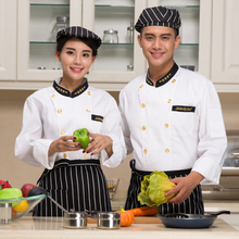 wholesale Winter  long-sleeve Chef service Double-breasted Hotel working wear Gilt buttons chef jackets white COLOR Chef uniform