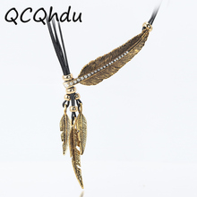 Buy 1PC Necklace Alloy Feather Statement Necklaces Pendants Vintage Rope Chain Necklace Women Accessories Jewelry for $1.06 in AliExpress store