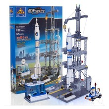 822pcs Space Rocket with Launch Site Space Station Building Kit Model Toys Long March 2F kazi ky83001 3D Model Educational Toy