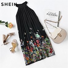 SHEIN New Woman Dress 2016 Summer Black Round Neck Sleeveless Womens Casual Clothing Floral Print Cut Away Shift Dresses(China)