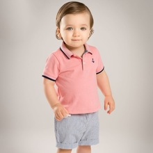 Brand 2017children kids boys' summer sets short-sleeve polo shirt+striped short Cotton toddler boy casual sets boy set home wear(China)