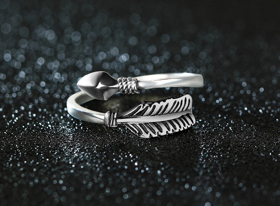 Gorgeous Resizable Sterling Silver Cupid Arrow Ring