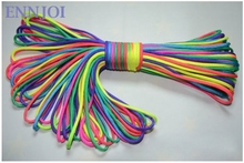 ENNJOI 100FT 7Core Rainbow Paracord String Parachute Cord Lanyard Rope for Camping, Tent Rope, Bracelets and Other Activities(China)