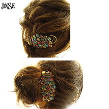 JINSE 1 PCS Hot Fashion Vintage Womens Ladies Colorful Rhinestone Peacock Hairpin Barrette Hair Clip Hair Accessories Jewelry