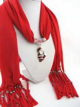 New Design Red Autumn Winter Women Pendant Scarf Christmas Santa Claus Shawl Lady Necklace Scarves Wraps Retro Tassels