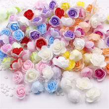 FREE SHIPPING 12Colors Wholesale 10PCS/Bag 3.5cm PE Foam Rose Handmade DIY Wedding Home Decoration Artificial Flower Head(China)