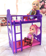 NK One Set Doll Accessories Super CutePlatic Bunk  Bed Play House Toys For Mini doll house For Barbie Doll Kelly Doll
