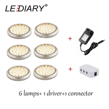 LEDIARY 6 lamps+1 driver+1 connector LED Surface Mounted Round Aluminum LED Lamp 12v 3w for Cabinet/Furniture Lighting