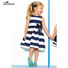 Baby Girl Dress Clothing 2017 Summer Kids Girls Beach Sundress A-Line Vest Blue White Striped Bow Tutu Kids Dresses for Casual(China)