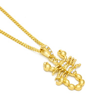 New alloy Gold color necklace fashion trend cool scorpion rhinestone pendant hip-hop Cuban chain