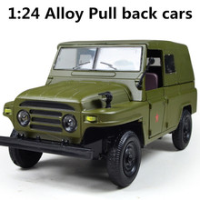 2015 Military model, battle Cabriolet jeep 1:24 scale alloy pull back car, Diecasts car & Toy Vehicles best gift, free shipping