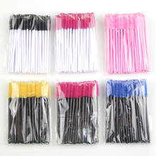 Hot selling 50 pcs/pack One-Off Disposable Eyelash Brush Mascara Applicator Wand Brush black yellow blue pink rose red