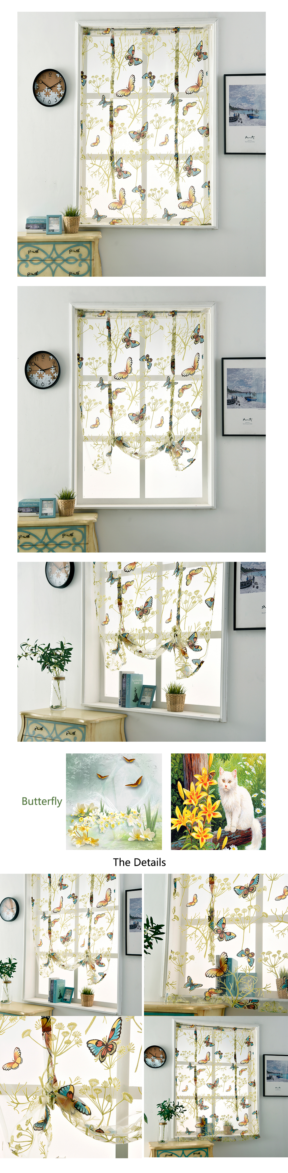 Sinogem Kitchen short sheer curtains burnout roman blinds butterfly sheer panel tulle window treatment door curtains home decor (6)