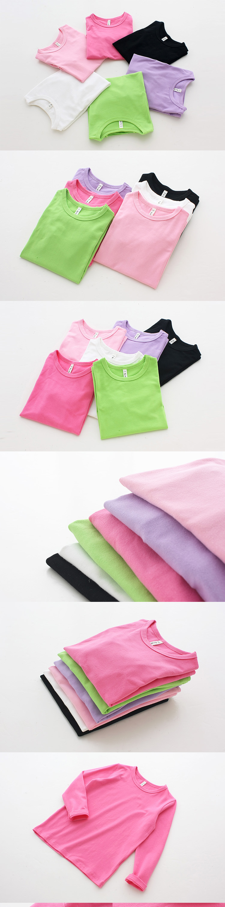 Autumn New 100% Cotton Kids T Shirt Candy Color Long Sleeve Baby Boys Girls T-Shirt Children Pullovers Tee Girl Boys Clothes 16