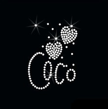 4pc/lot Coco Heart Rhinestones Heat Transfer Design Iron On Motifs patches hot fix rhinestone patches