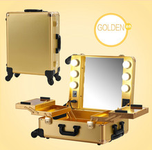 Golden Proffessional Makeup Artist Station Pro Lighted Mirror Case Wheeled Salon Cosmetic Studio Box 3 types 2015 New(China)
