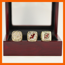 NHL 1995 2000 2003 NEW JERSEY DEVILS STANLEY CUP CHAMPIONSHIP RING, 3 RINGS AS A COLLECTION WITH WOODEN BOX