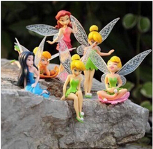 6pcs/lot Tinkerbell Mini Tinker bell Flying Flower Fairy Lovely PVC Action Figure Toys Collection Model For Christmas Kids Gift(China)