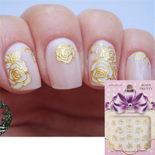 Hot-sell Gold 3D Nail Art Sticker Delicate Floral Patterned Sticker(China)