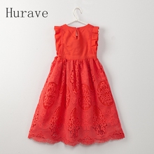 Hurave Summer Style Fashion 2017 Kids Red White Clothes Girls Dress Children Princess Dress For Kids Vestidos(China)