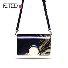 AETOO The new Korean fashion trend semi-round patent leather shoulder bag Messenger bag small square bag custom leather handbags(China)