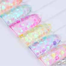 Colorful Round Nail Sequins Flakes Mermaid Fluorescent Paillette Flakies Manicure Nail Art Decorations(China)
