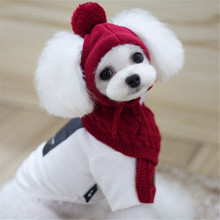 Pet Products Dog Supplies Winter And Fall Christmas Warm Pure Color Dog Accessories Dog Cap And Scarf(China)