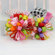 6pcs/lot Children hairpin shape fireworks Girls Color Ribbon hair Clip Baby Girl Lovely Christmas Hair accessories retail